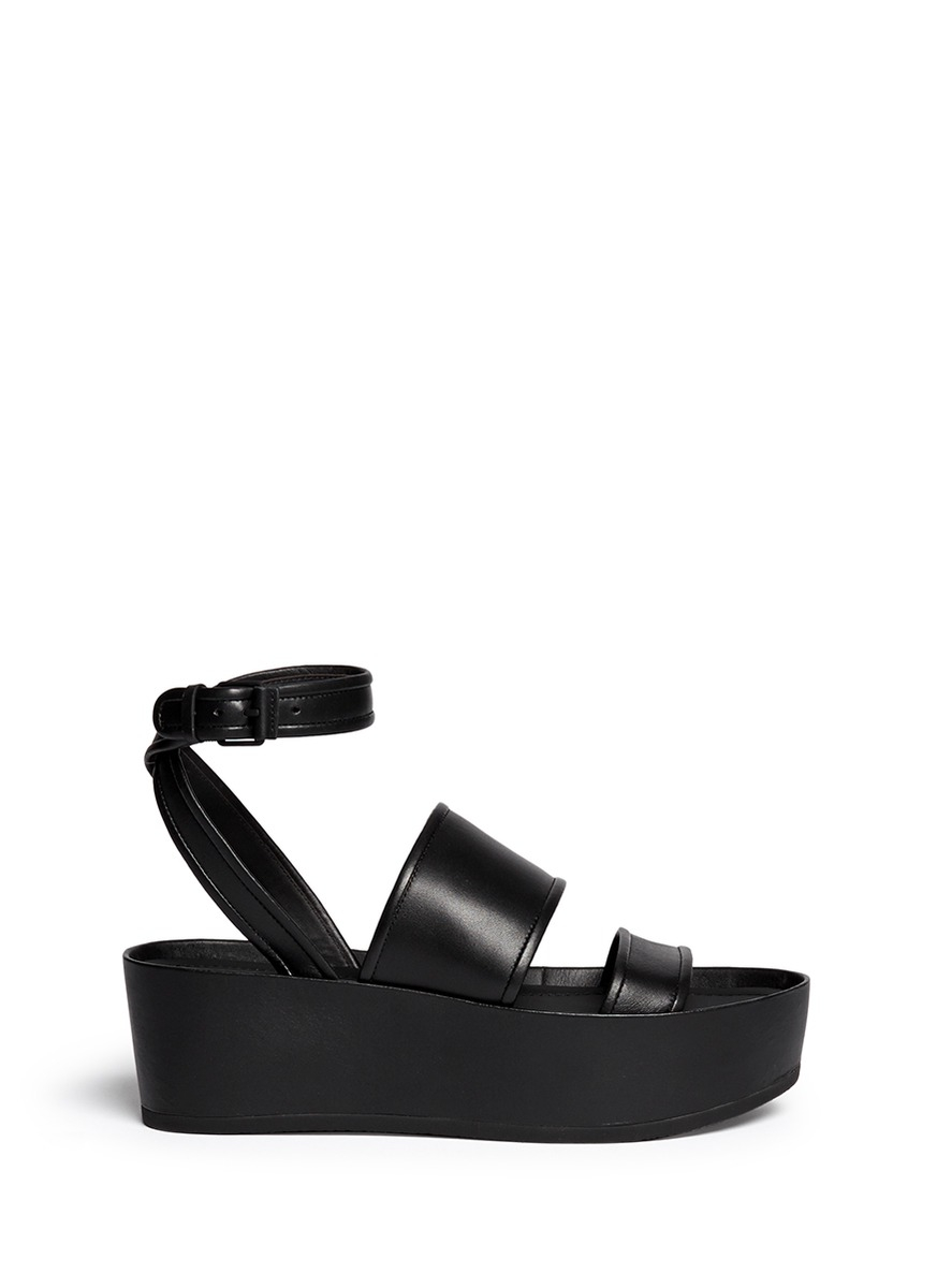 Lyst Vince Vienna Cross Strap Leather Flatform Sandals