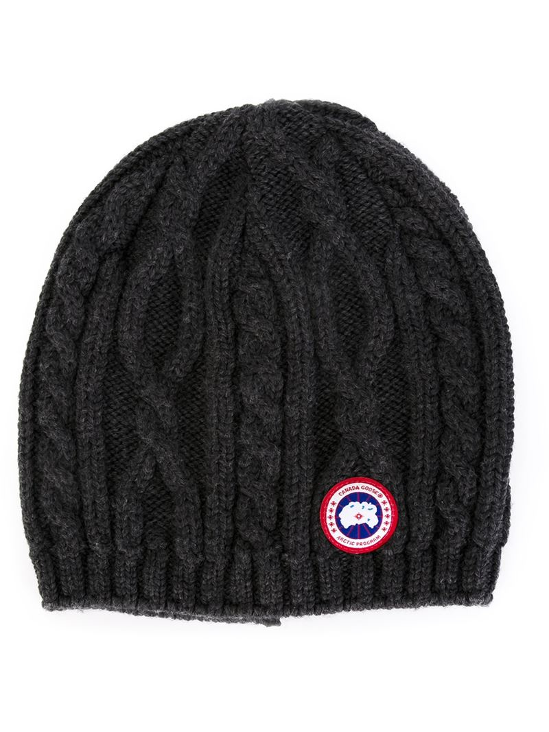 Lyst - Canada Goose Cable Knit Beanie in Gray ceb59e491d2