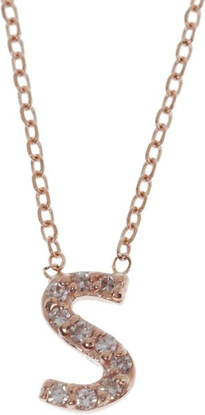 Kc Designs Rose Gold Diamond Letter S Necklace In Pink