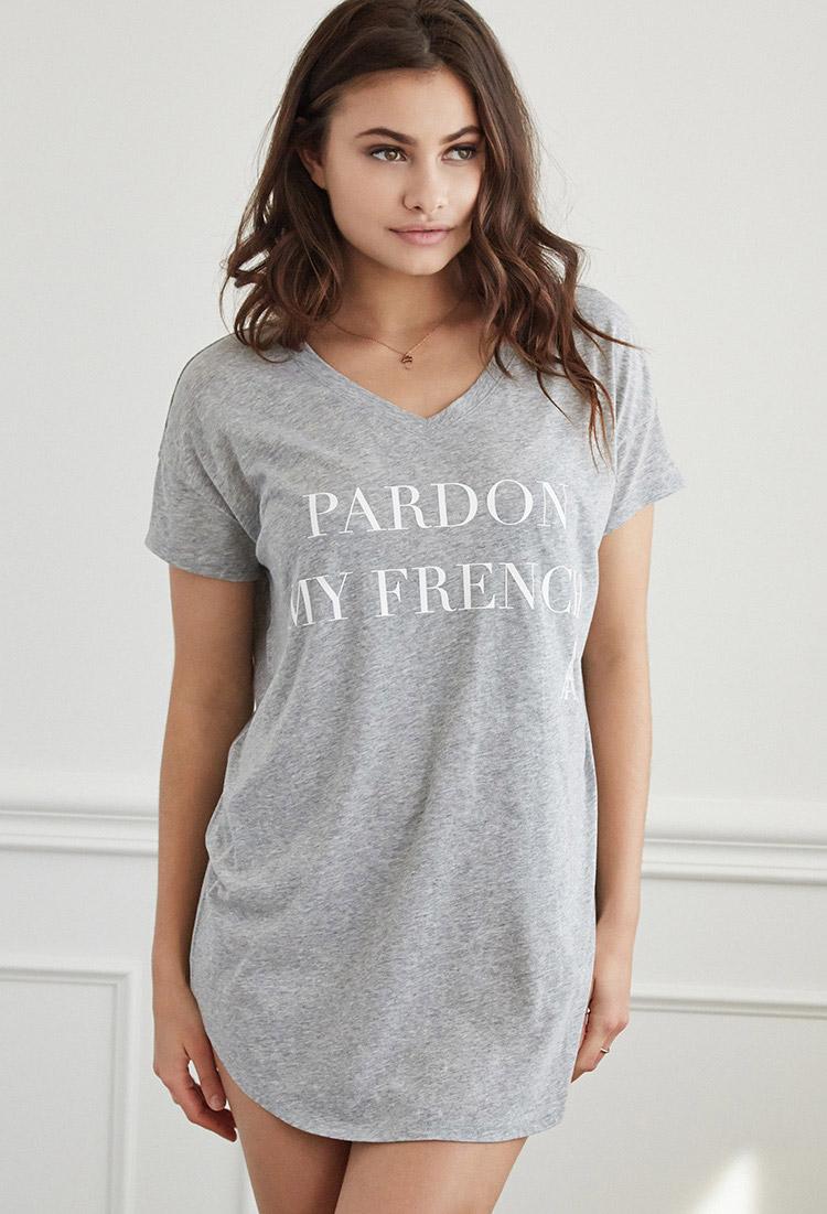 2a514b094ec Lyst - Forever 21 Pardon My French Nightdress in Gray