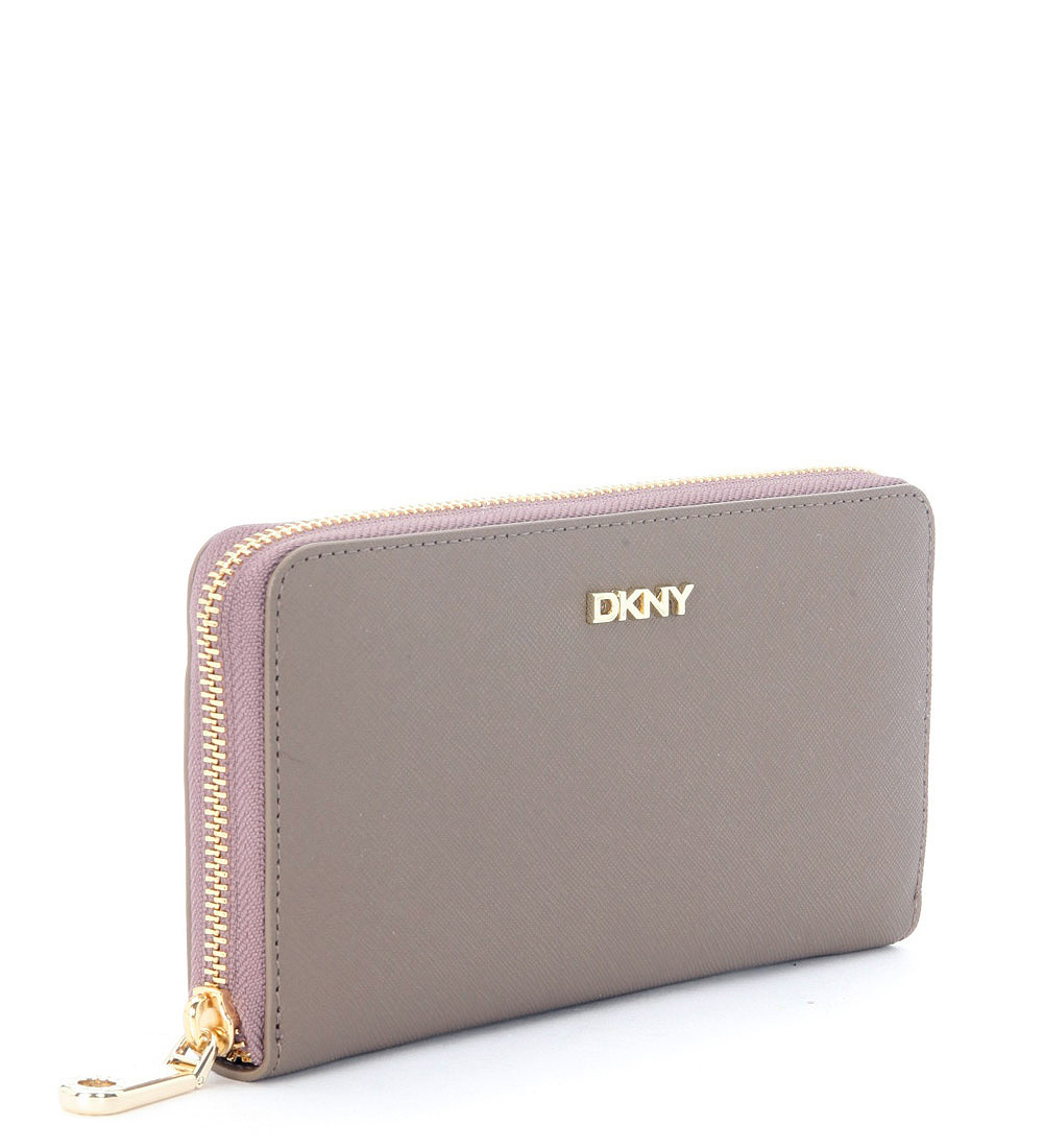 Dkny Taupe Saffiano Leather Wallet in Beige