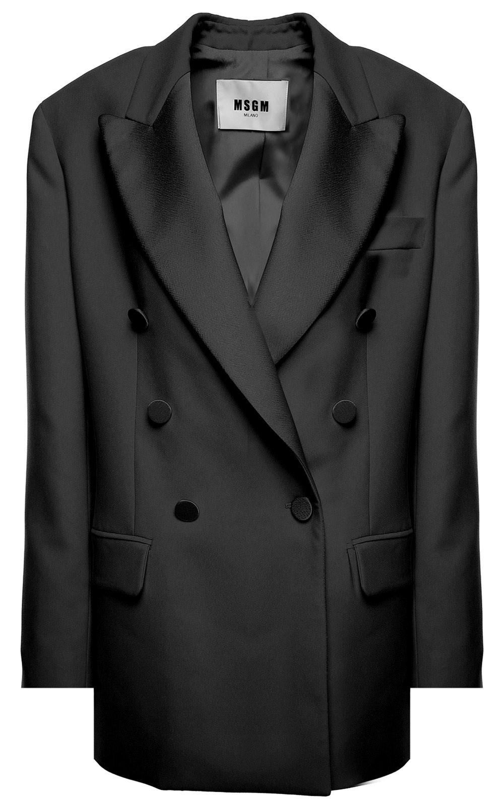 Tuxedo breasted in Crepe Lyst Msgm And Black Double Jacket Satin qWRCv