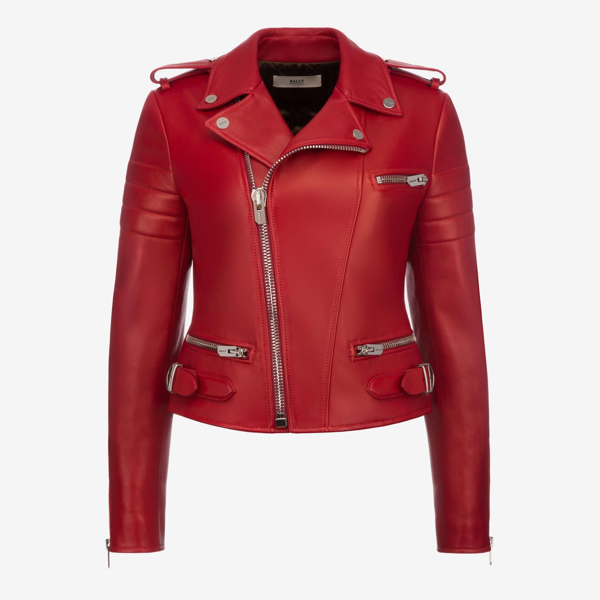 Lyst - Bally Leather Biker Jacket In Pink