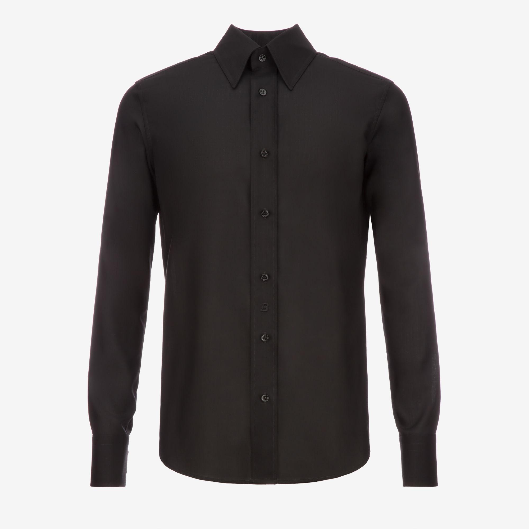Bally Wool Crepe Shirt In Black For Men Lyst