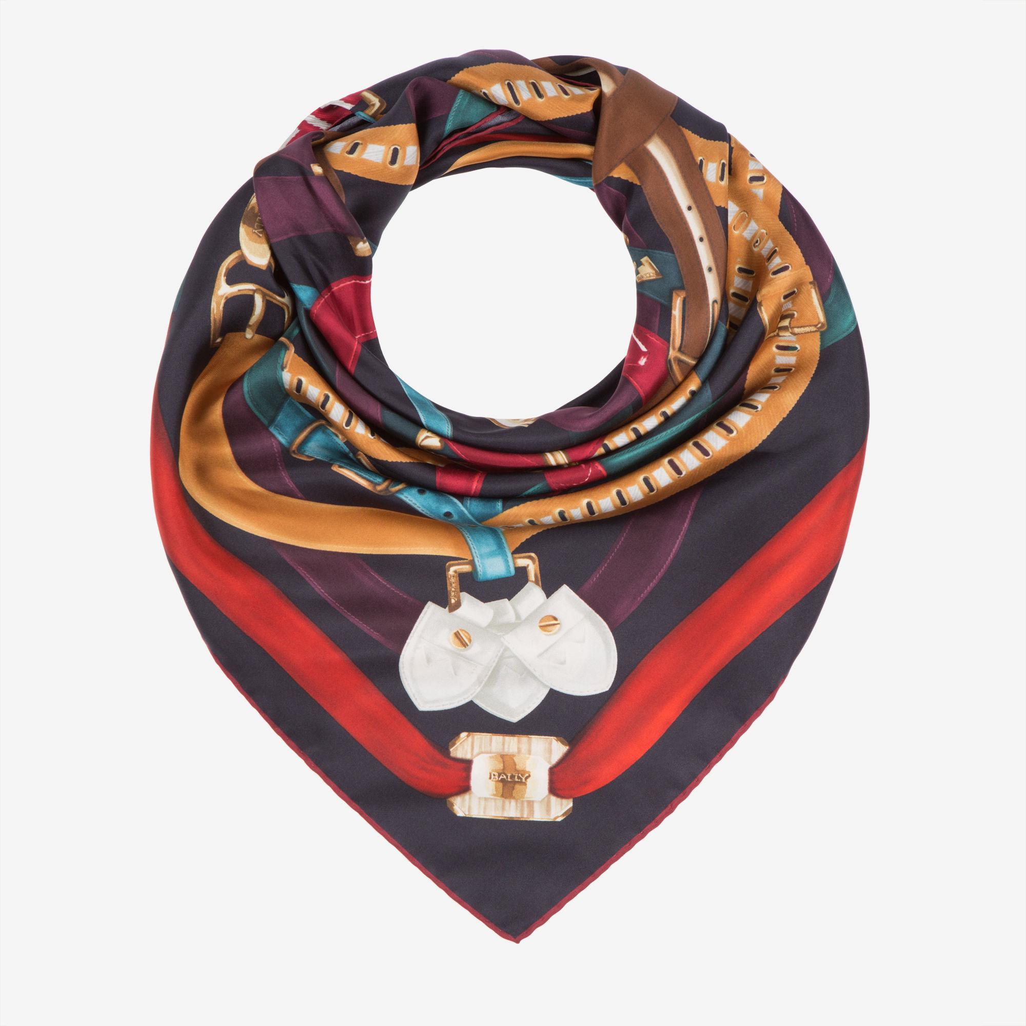 Crest Print Silk Scarf Blue, Womens silk scarf in ink Bally