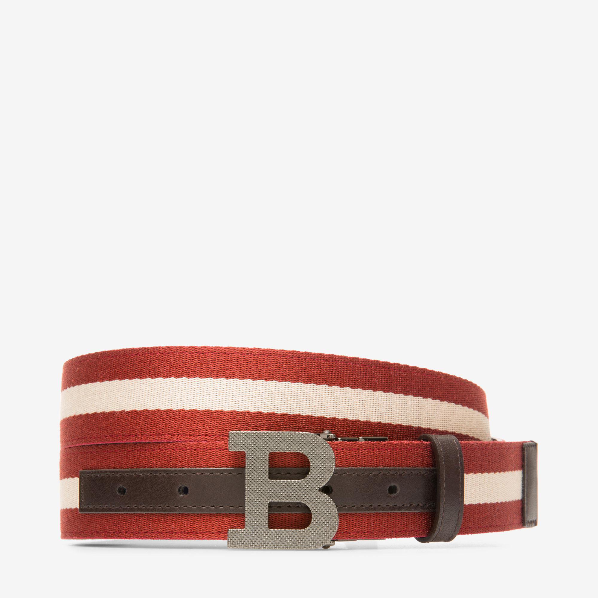 B Oblique 30Mm Red, Womens leather adjustable belt in dark red Bally