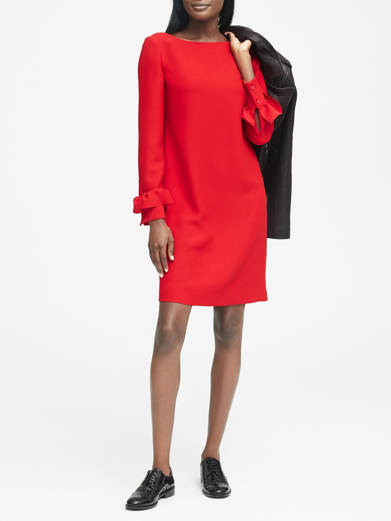 8899b404a0 Lyst - Banana Republic Petite Ruffle-cuff Button-back Dress in Red