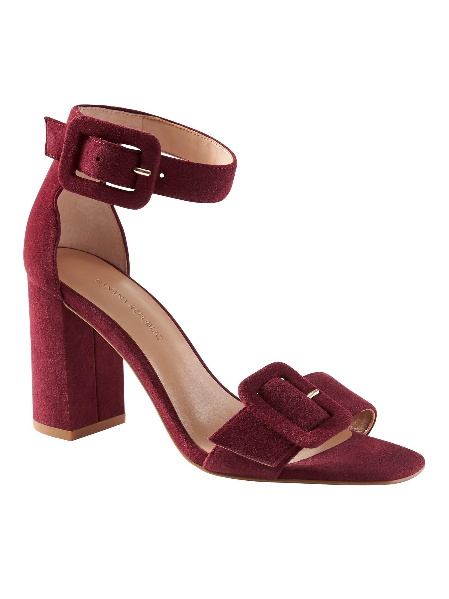 920790486fd Lyst - Banana Republic Buckle Block-heel Sandal in Red