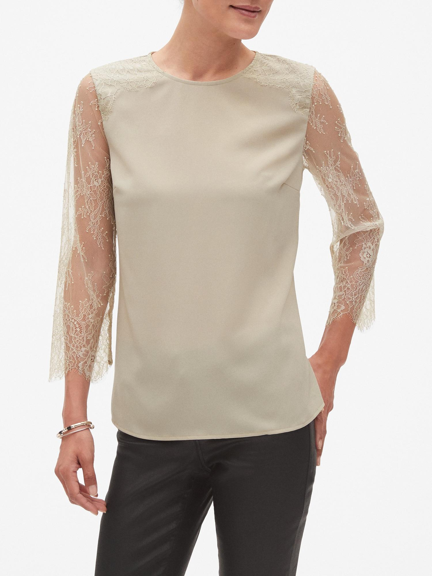 0b39213935683 Lyst - Banana Republic Factory Lace Sleeve Blouse in Natural