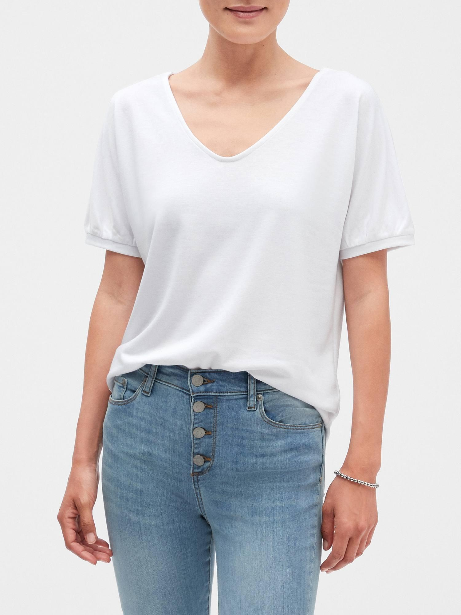 9a61657089214 Lyst - Banana Republic Factory Terry Gather Cuff Top in White