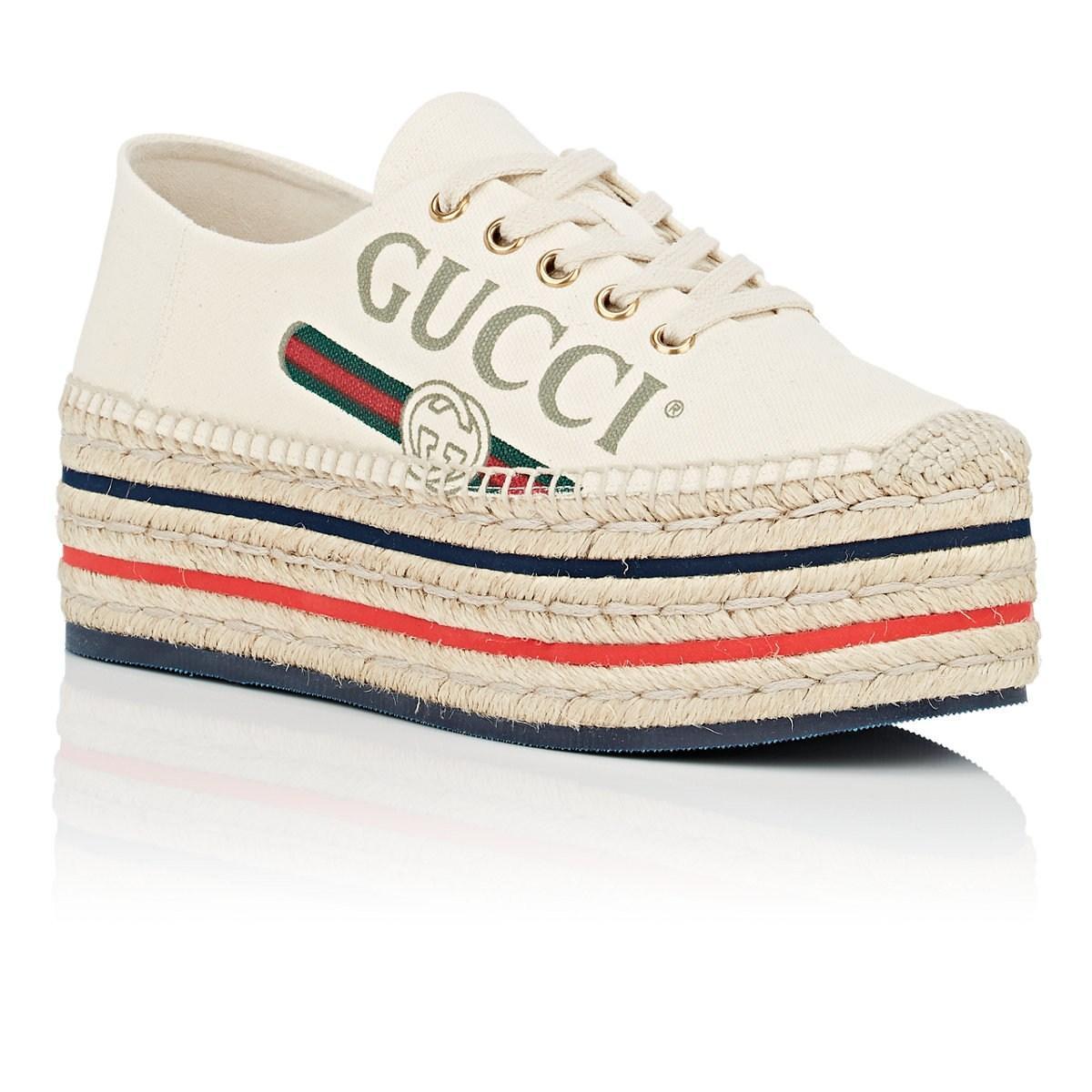 b40d520b9fb Gucci - White Canvas Platform Espadrille Sneakers - Lyst. View fullscreen