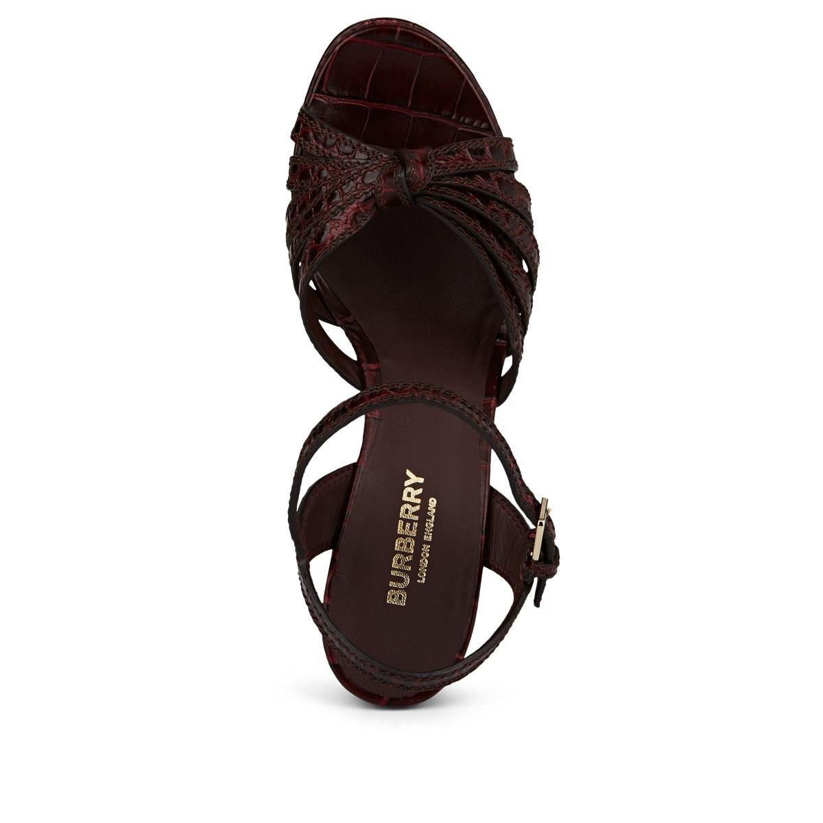 1d4cb7c966e3 Burberry - Brown Margate Stamped Leather Platform-wedge Sandals - Lyst.  View fullscreen