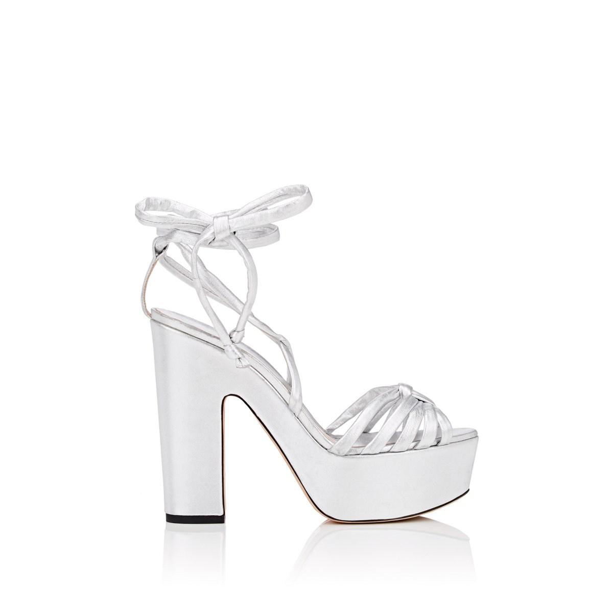 708bb807ec3 Alchimia Di Ballin. Women s Metallic Tara Leather Ankle-wrap Platform  Sandals