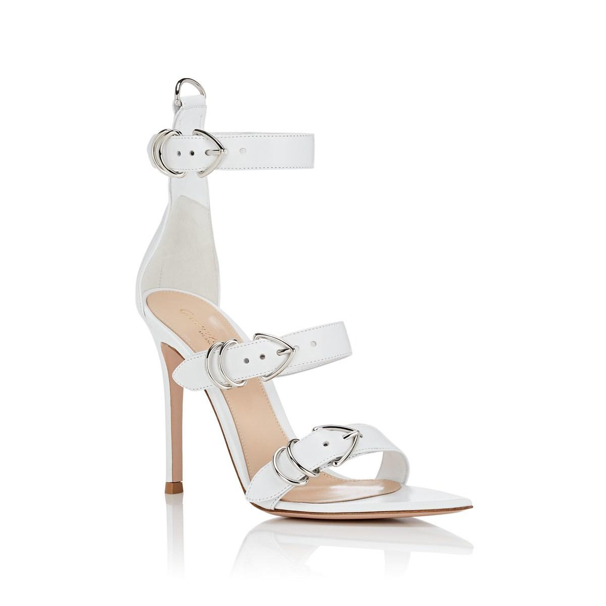 19ec74b7b20 Gianvito Rossi - White Leather Ankle-strap Sandals - Lyst. View fullscreen