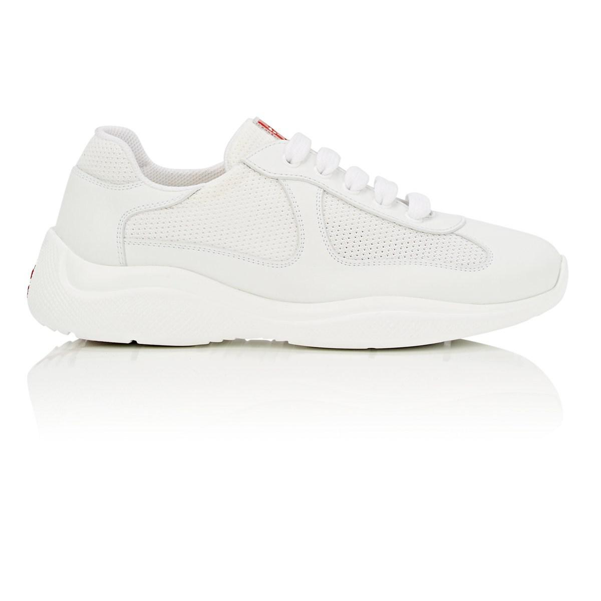 d3f65740284 Lyst - Prada Mixed-material Sneakers in White