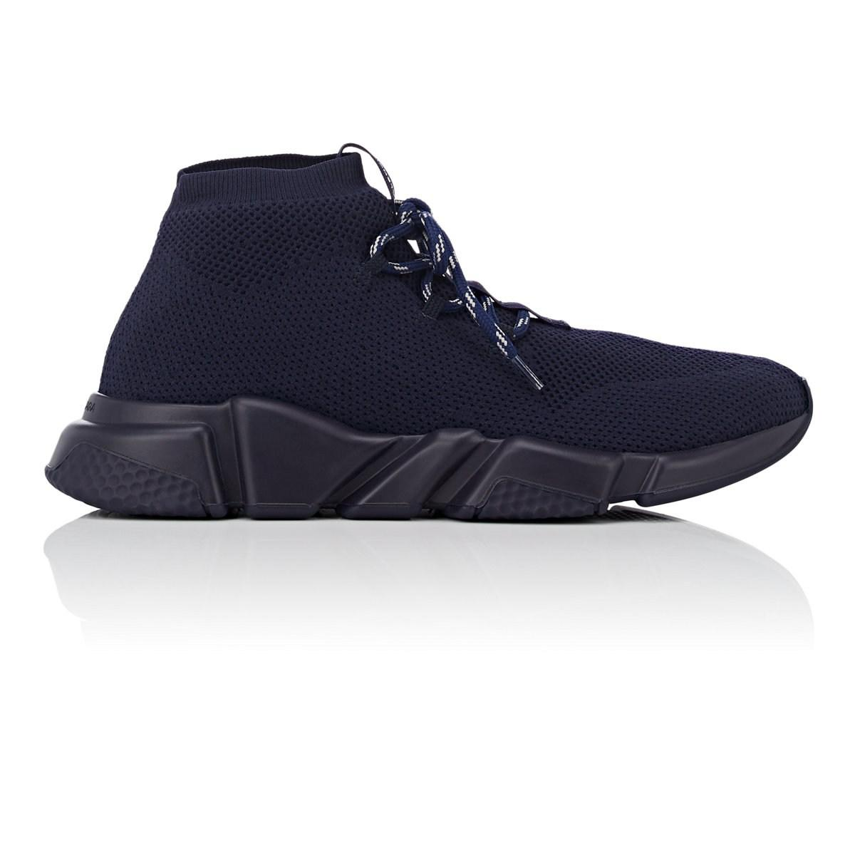 34651fb235252 Lyst - Balenciaga Speed Knit Lace-up Sneakers in Blue for Men - Save 3%
