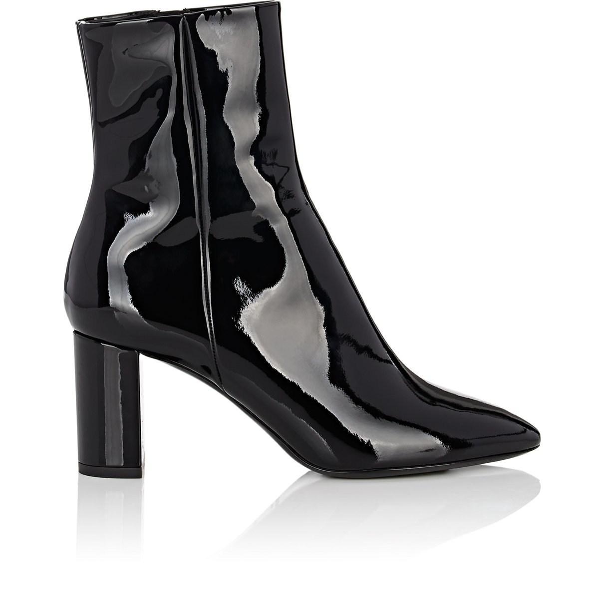 6bcb732e976 Lyst - Saint Laurent Loulou Patent Leather Ankle Boots in Black