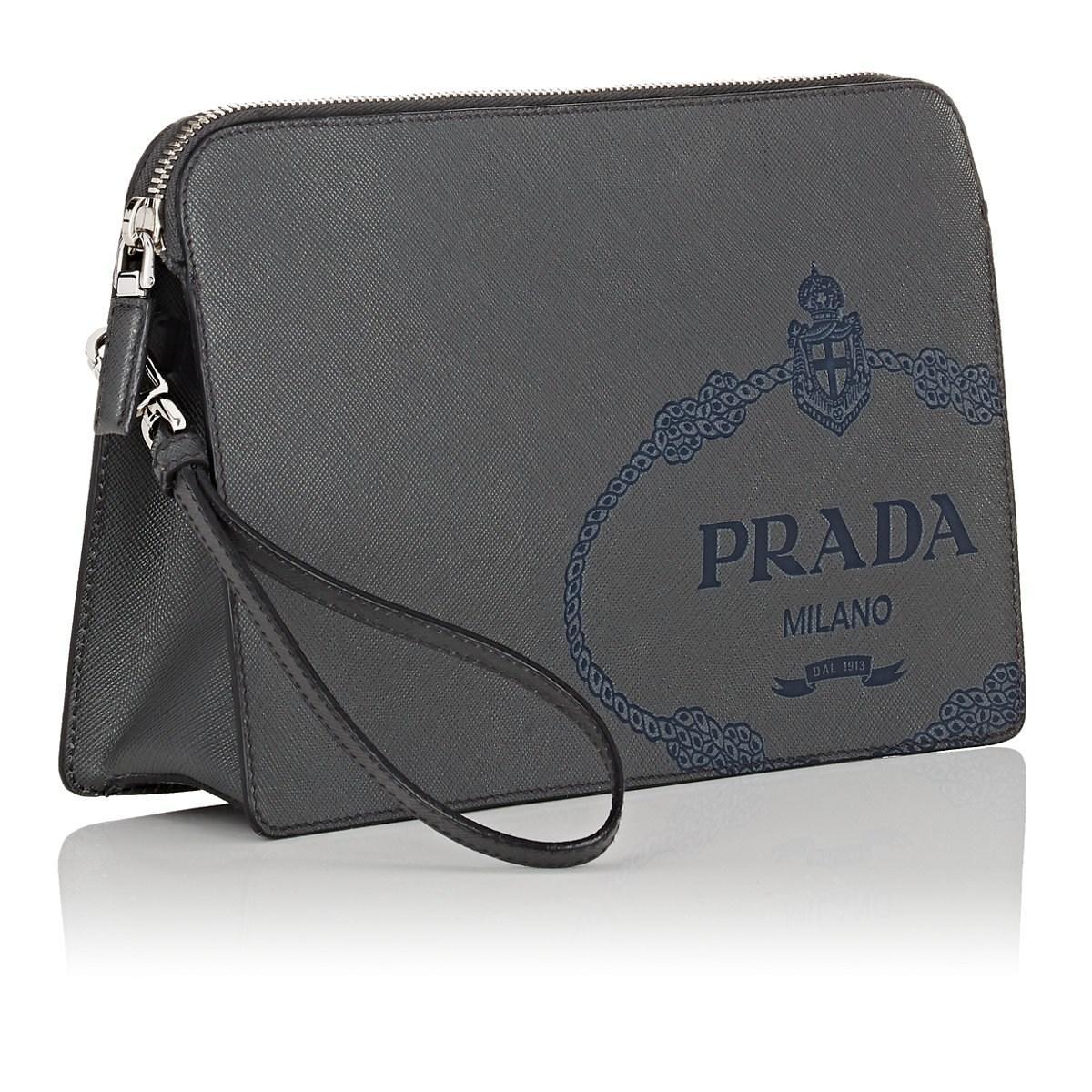 a3d82f1b5fd7 Prada - Black Leather Pouch for Men - Lyst. View fullscreen