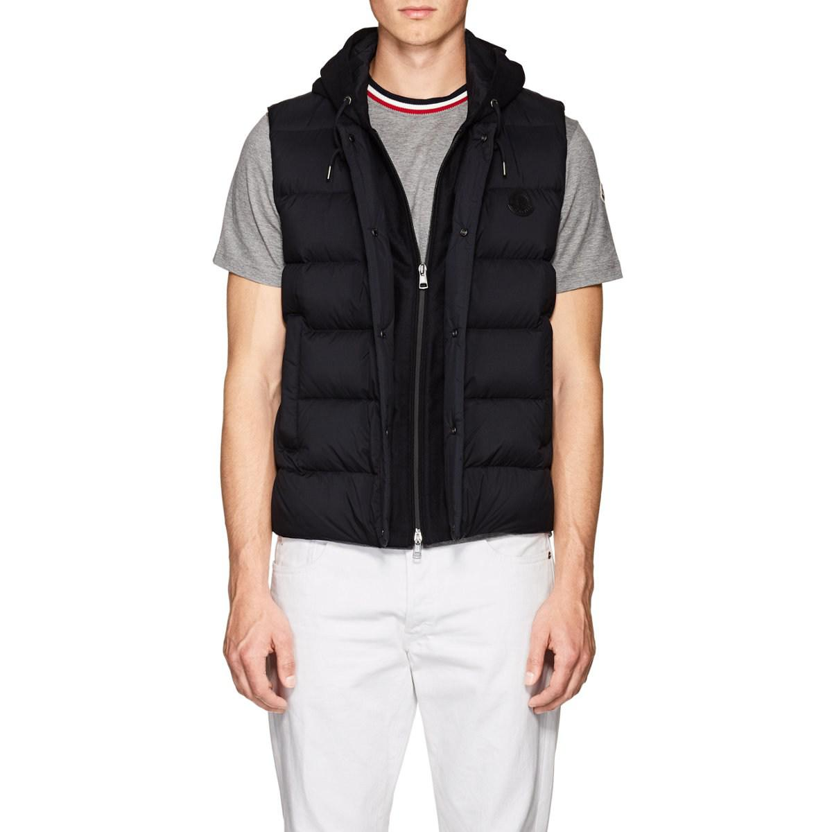 3ea5a091d Moncler Hooded Down Vest in Blue for Men - Lyst