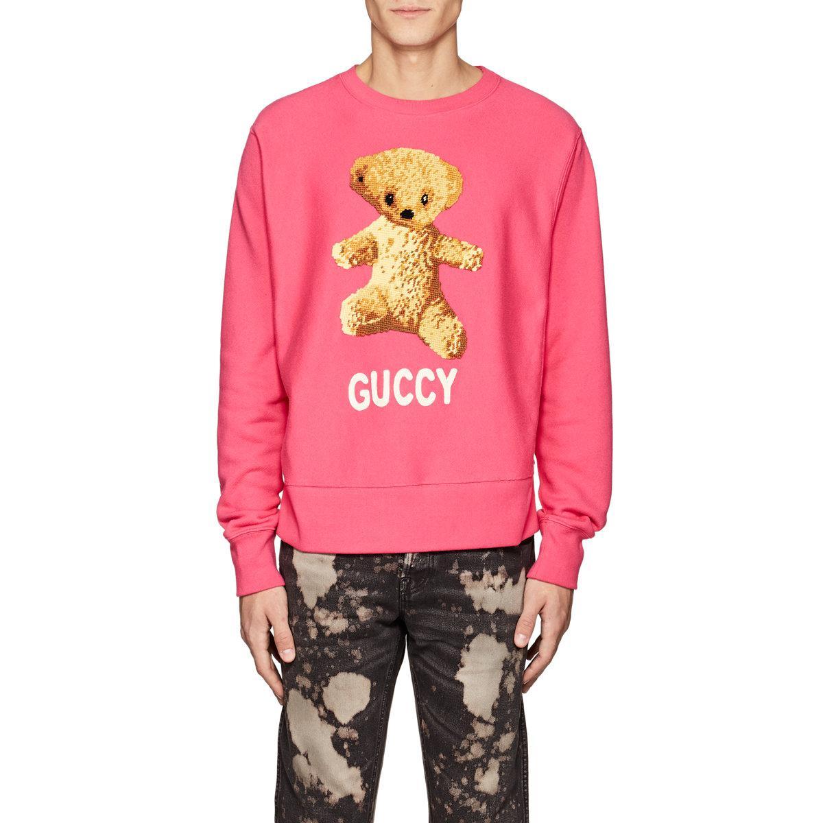 14187327c Gucci Teddy Bear Cotton Sweatshirt in Pink for Men - Lyst