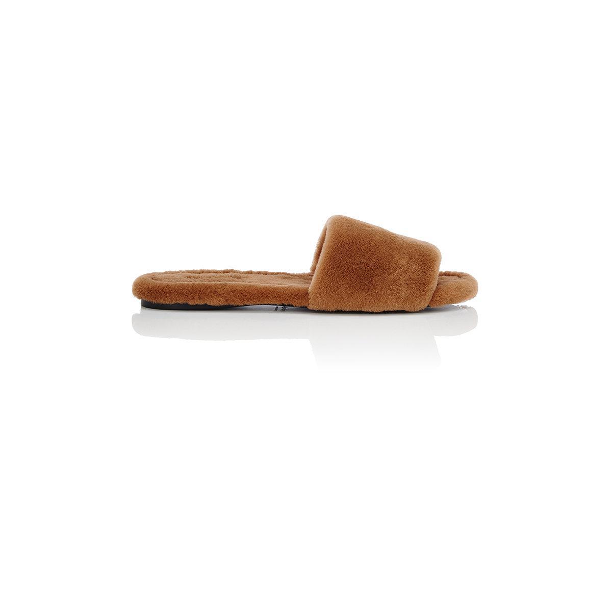 Womens Ellen Mink Fur Slide Sandals The Row IAk96BwC