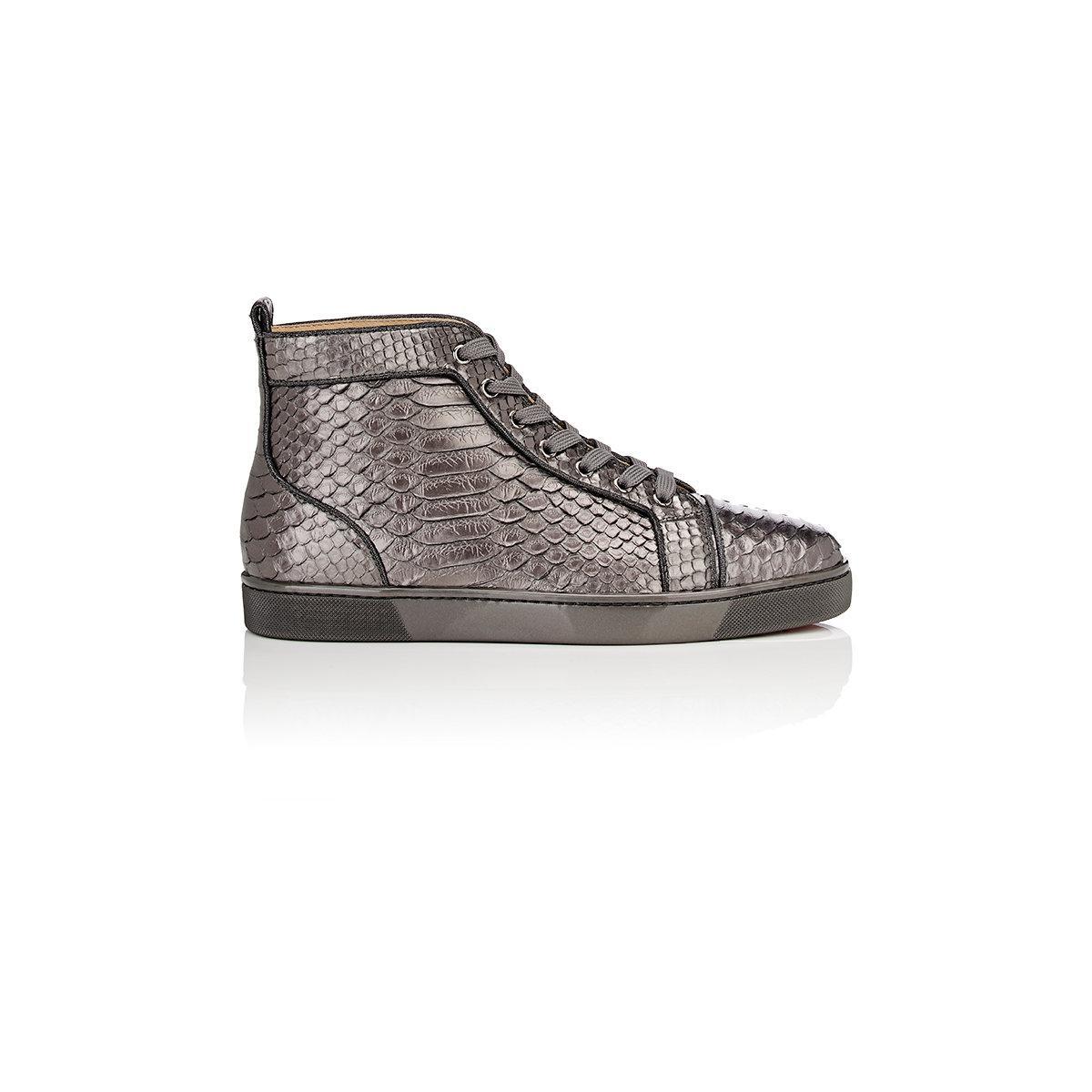 e42a91bbc3fd Christian Louboutin Louis Orlato Flat Python Sneakers in Metallic - Lyst