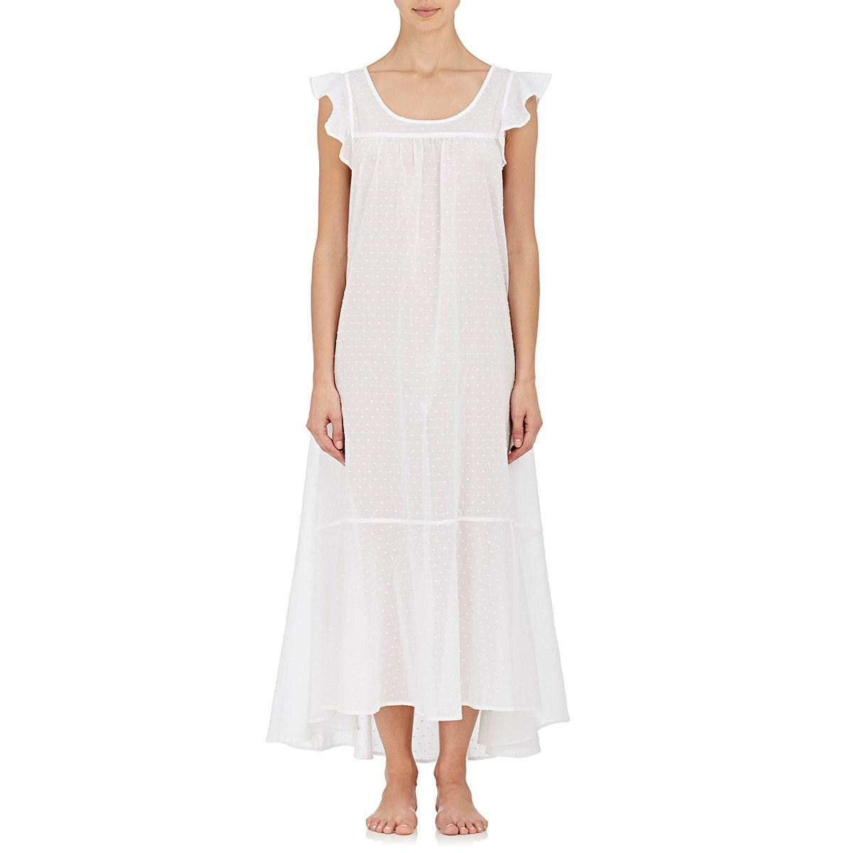 The sleep shirt cotton fil coup long nightgown in white for Long sleep shirts cotton