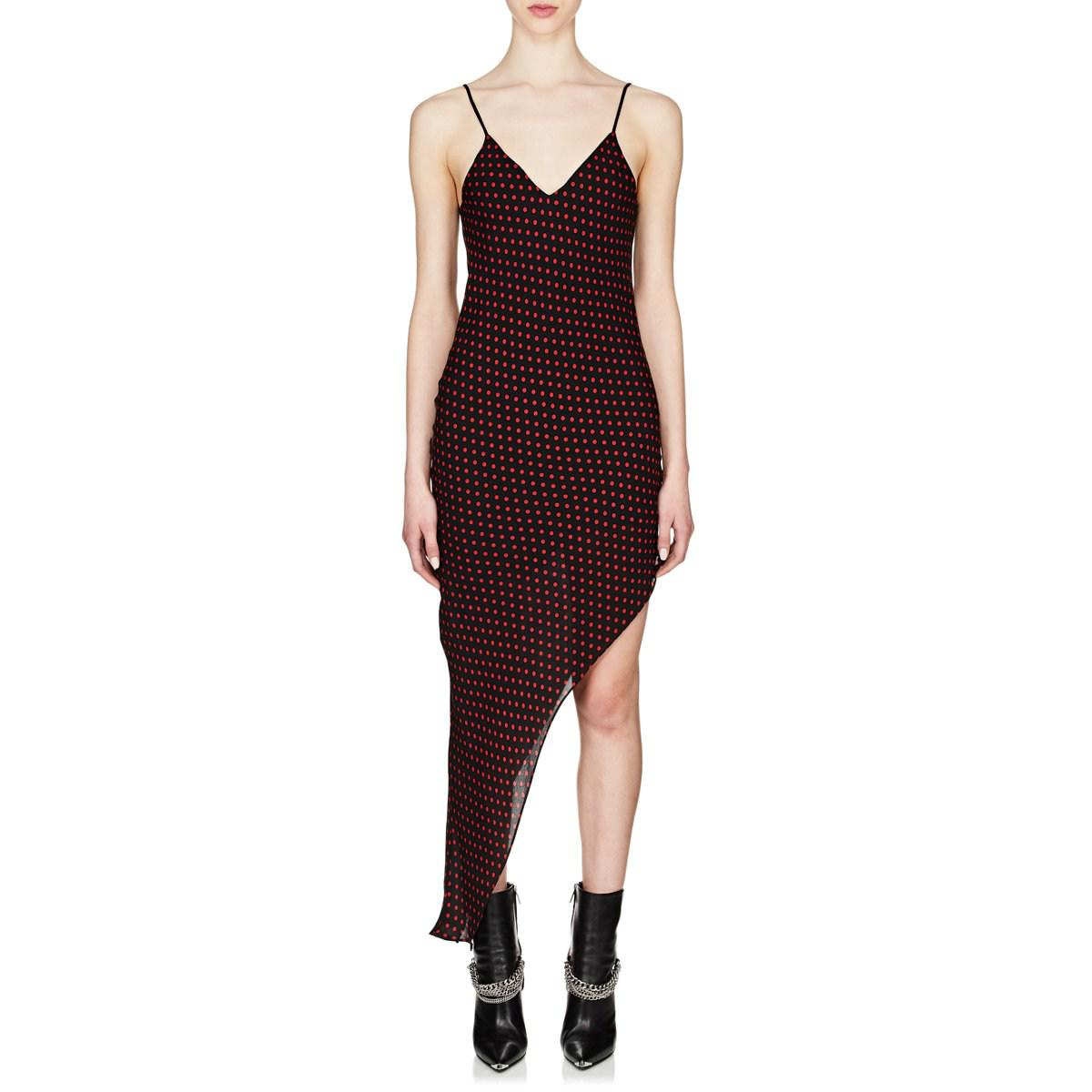 a89197f9716a2 Amiri Polka Dot Silk Satin Slipdress in Black - Lyst