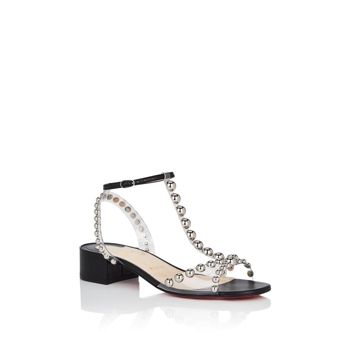 64753c1685ac Lyst - Christian Louboutin Faridaravie Studded Leather   Pvc Sandals ...