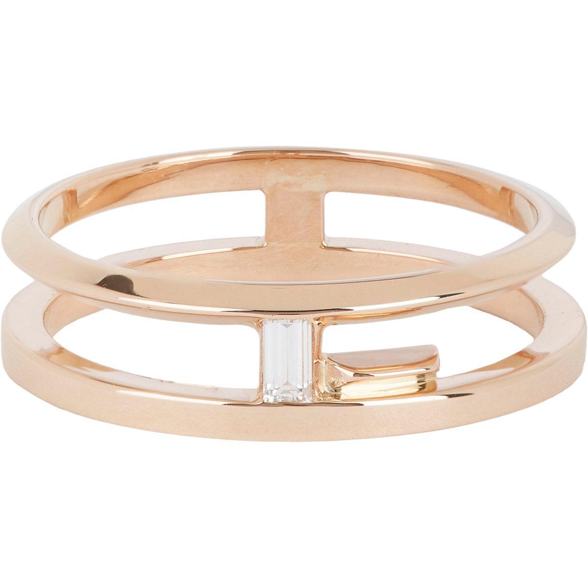 Lyst monique pan diamond gold double blueprint band in metallic gallery malvernweather Gallery