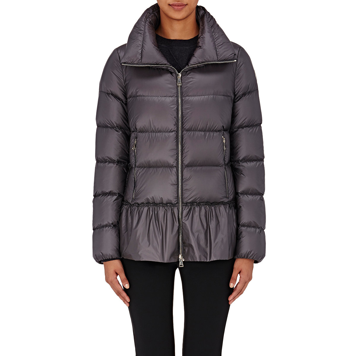 Lyst - Moncler Anet Peplum Down Jacket in Gray