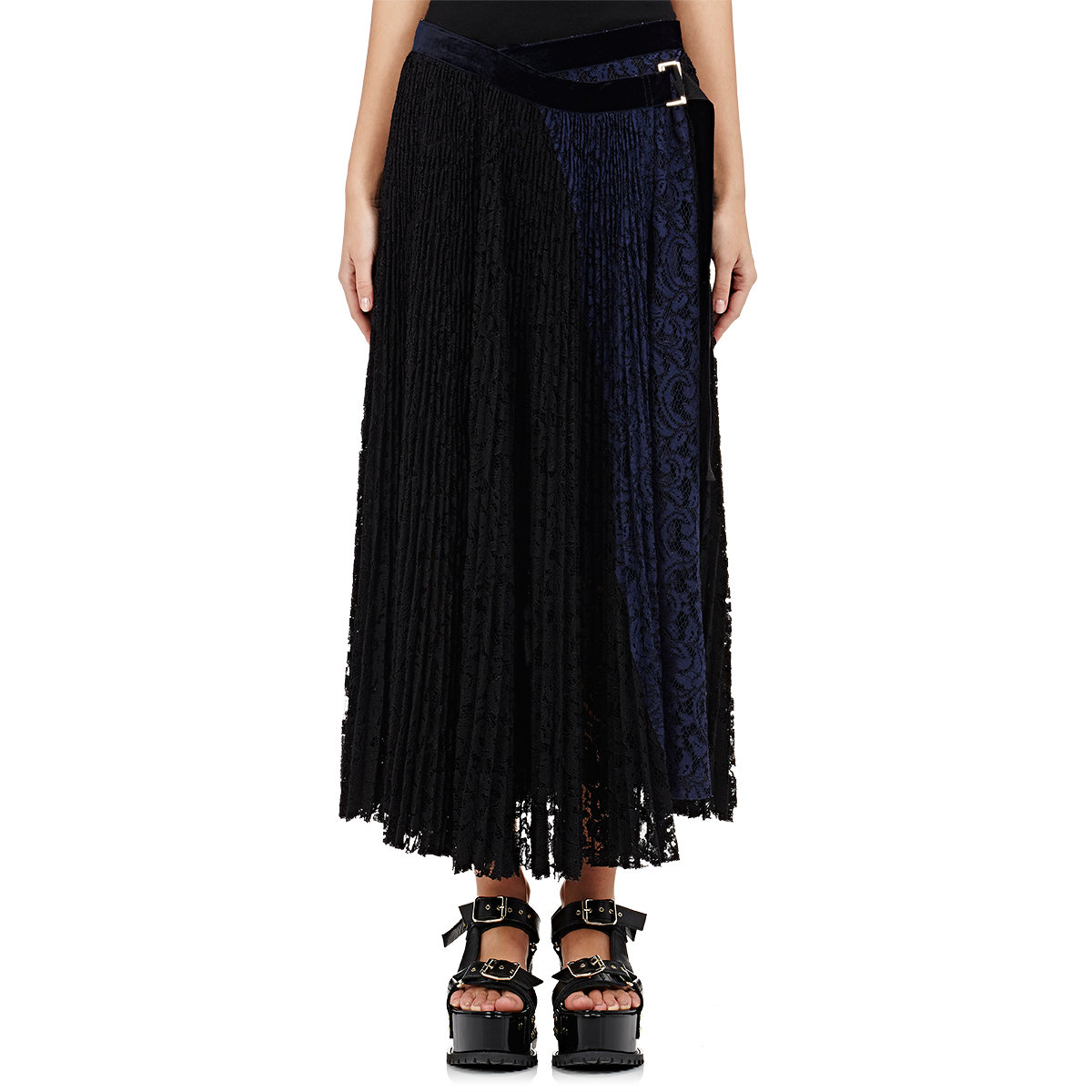 sacai accordion pleated skirt in black lyst