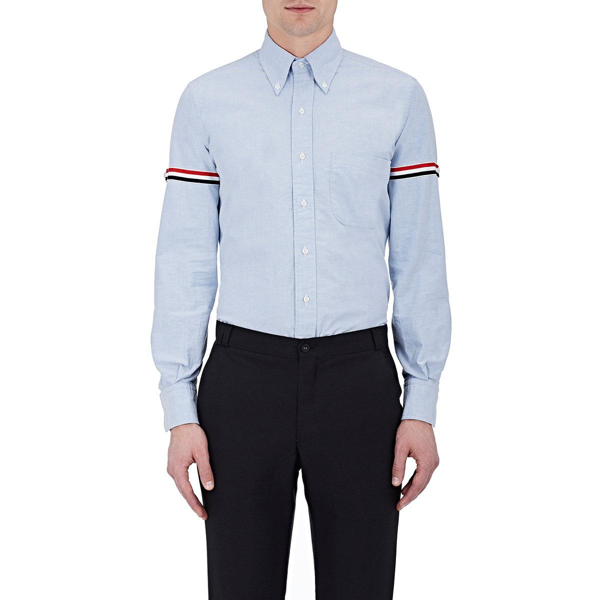 Lyst thom browne striped sleeves shirt in blue for men for Blue striped shirt mens