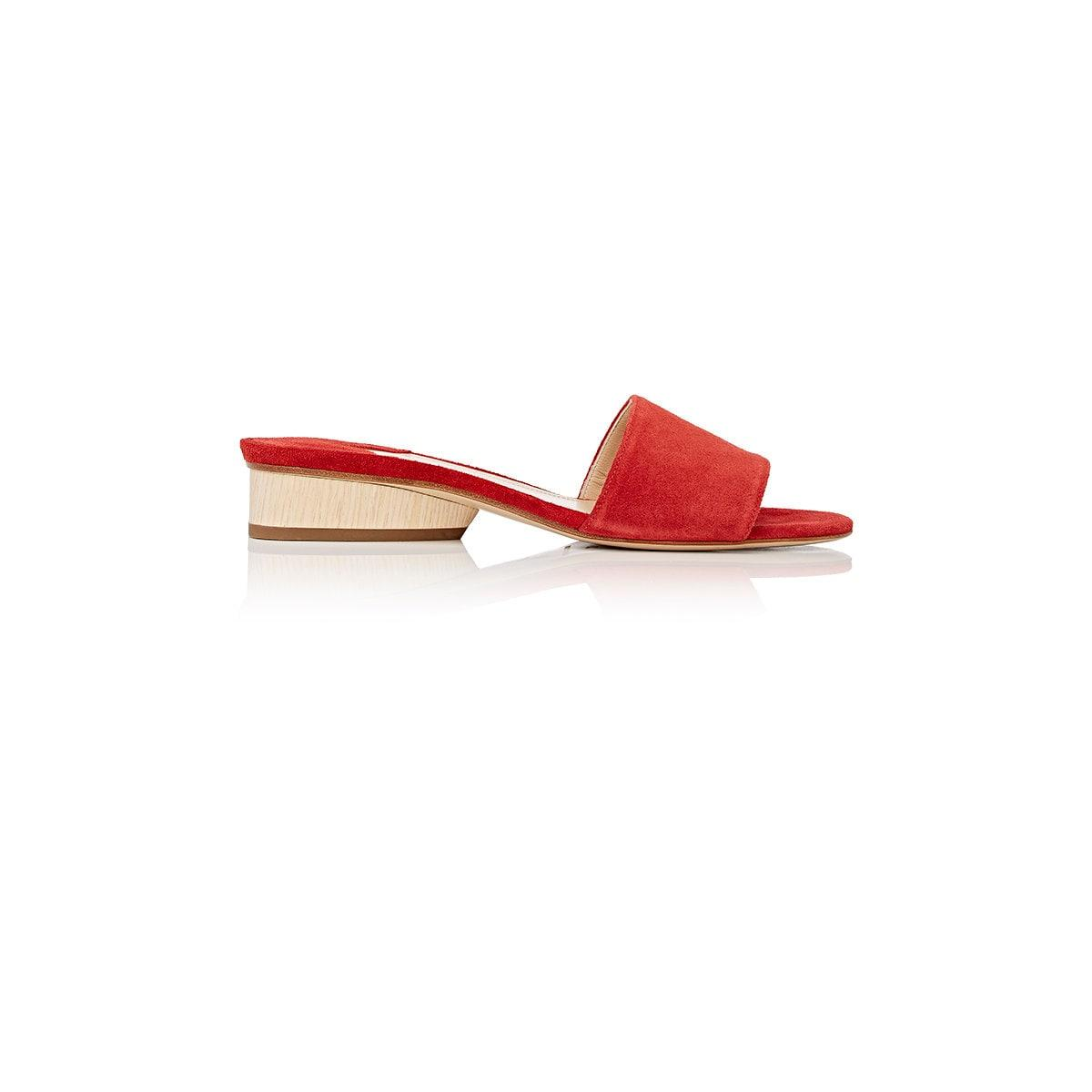 Lyst Paul Andrew Lina Suede Slide Sandals In Red