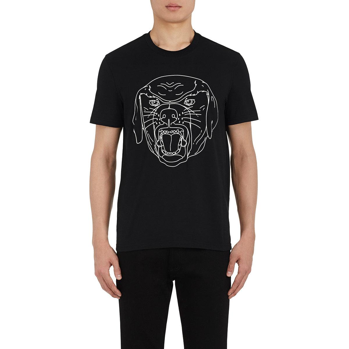 Givenchy stenciled rottweiler cotton t shirt in black for for Givenchy t shirts for sale