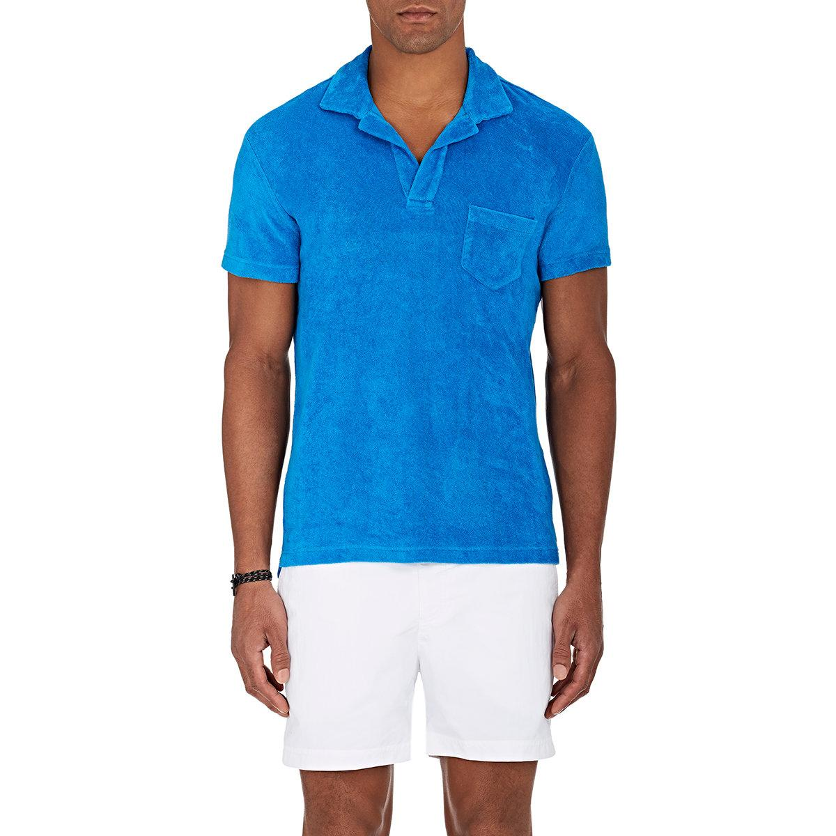 Orlebar brown terry cotton polo shirt in blue for men lyst for Mens terry cloth polo shirt