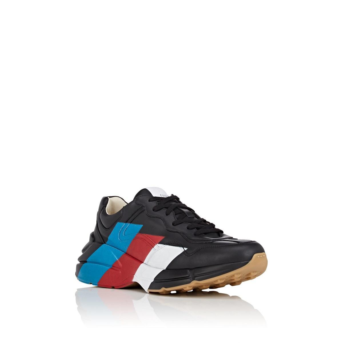 8d8431711f0149 Gucci - Black Rhyton Web Print Leather Sneaker for Men - Lyst. View  fullscreen