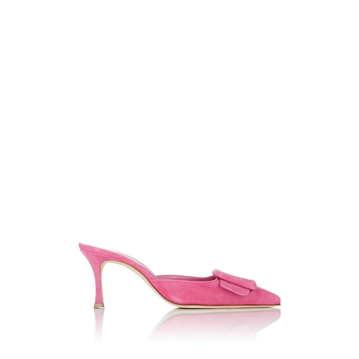 fd530aa13b466 Manolo Blahnik Maysale Suede Mules in Pink - Lyst