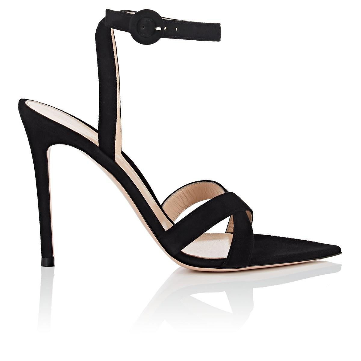 9ea440cc021 Gianvito Rossi Suede Ankle-strap Sandals in Black - Lyst