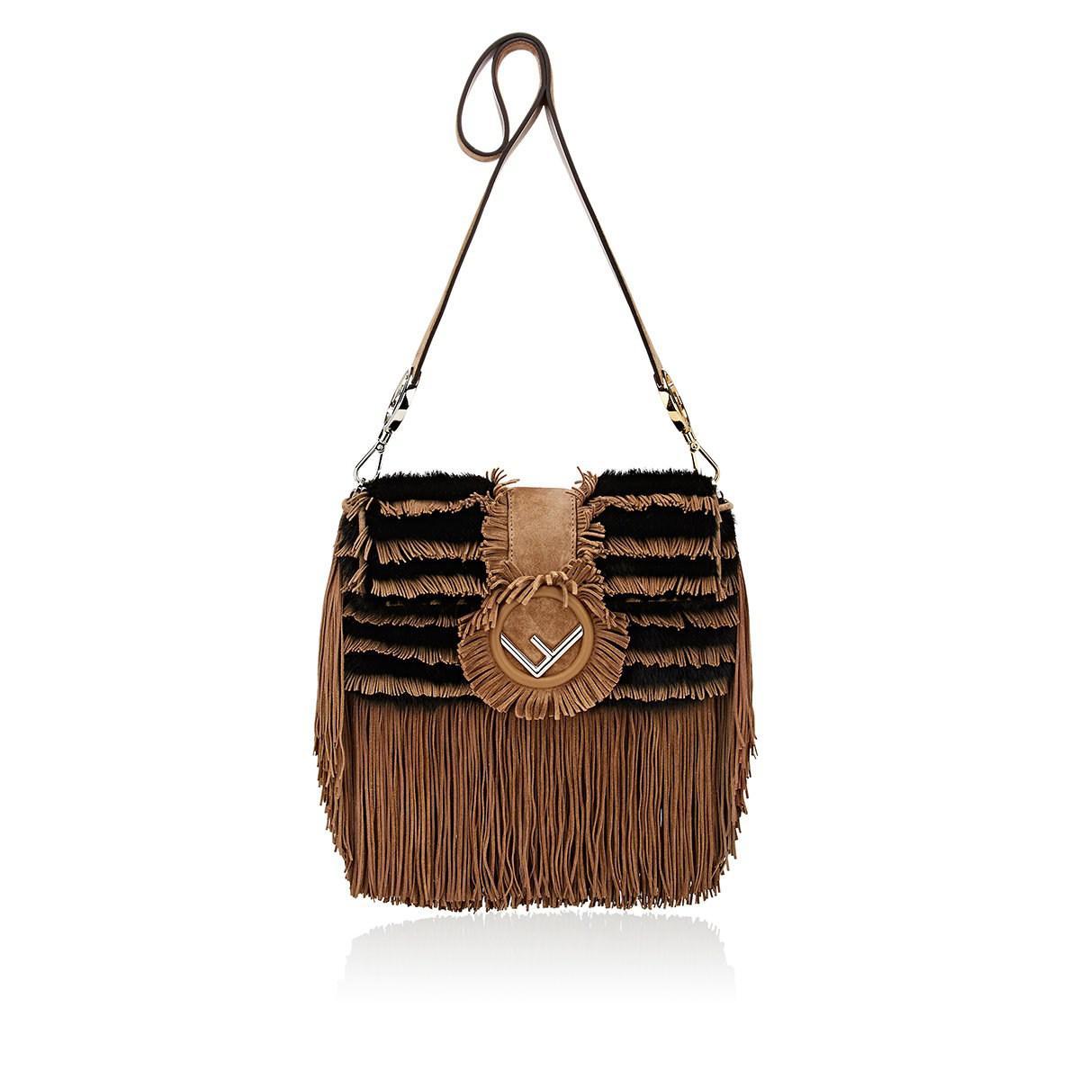 af8d42486e2e Fendi Striped Fur Shoulder Bag in Brown - Save 4% - Lyst