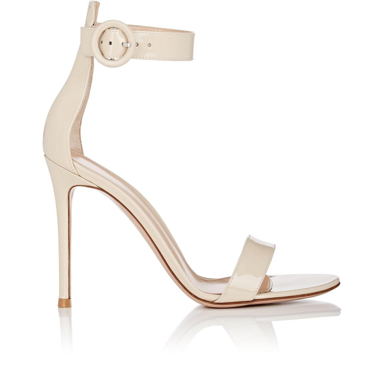 a6bb580f629 Gianvito Rossi. Women s Natural Portofino Patent Leather Ankle-strap Sandals