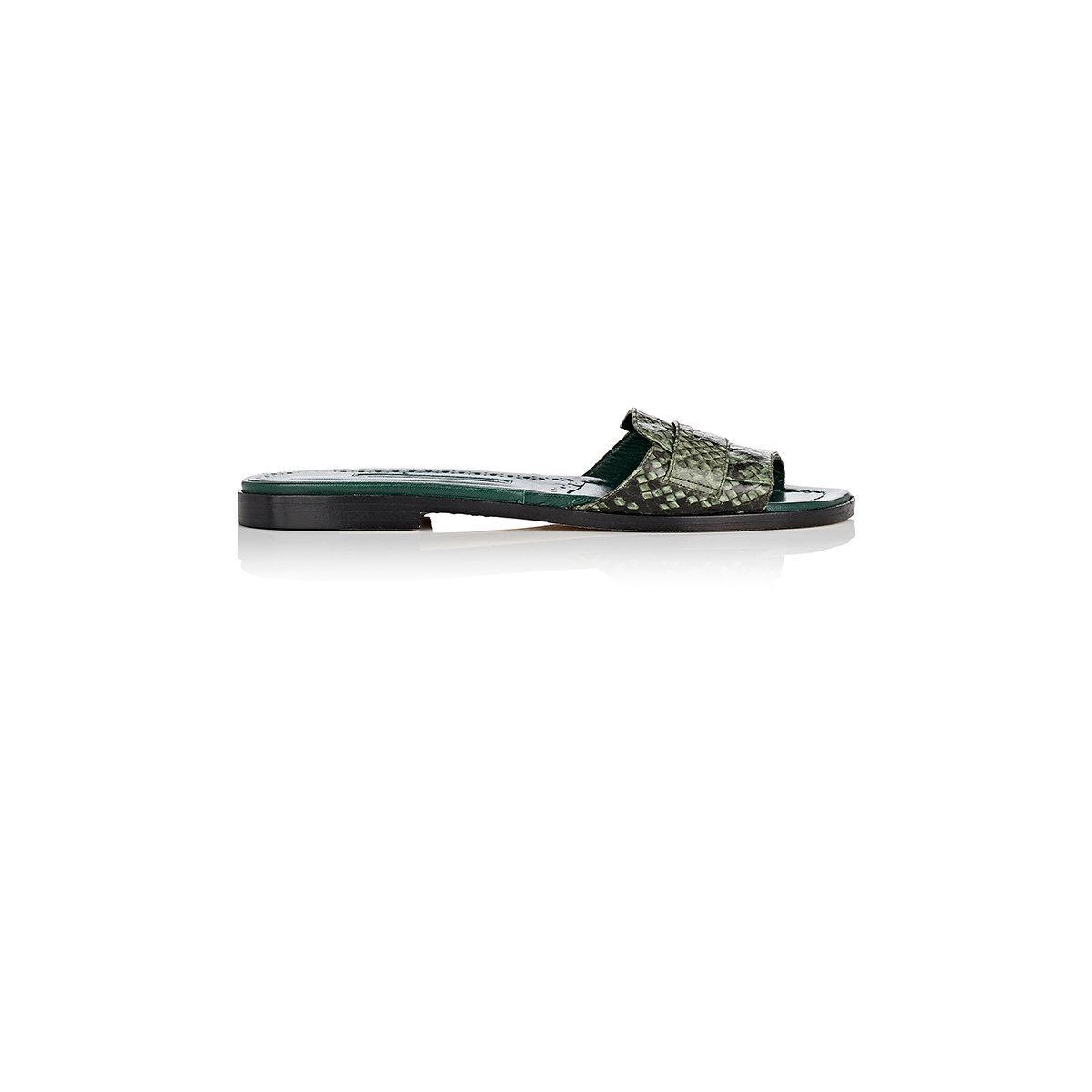 Womens Freccia Snakeskin & Leather Slide Sandals Manolo Blahnik D1w59a