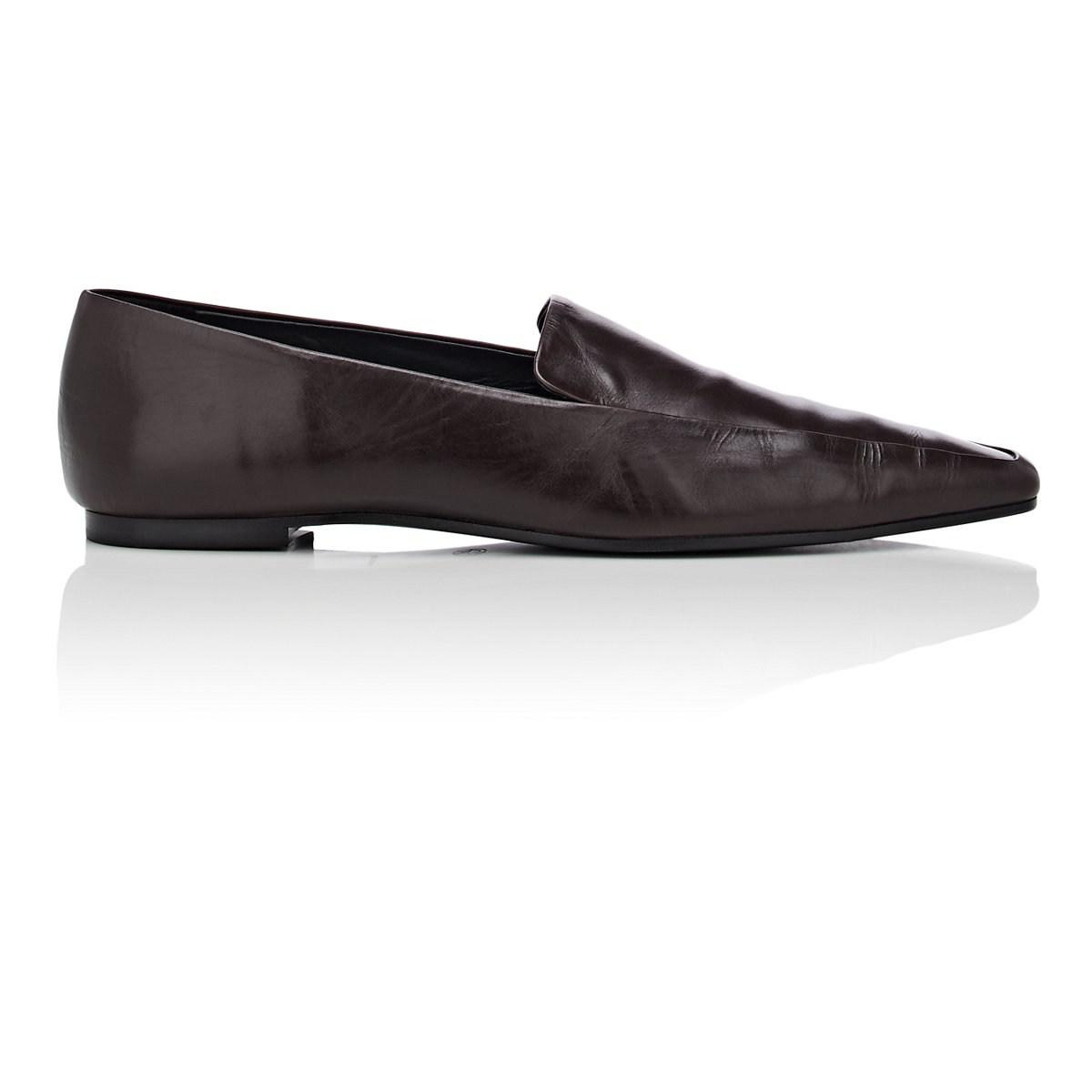 aa87934474d Lyst - The Row Minimal Leather Loafers in Brown