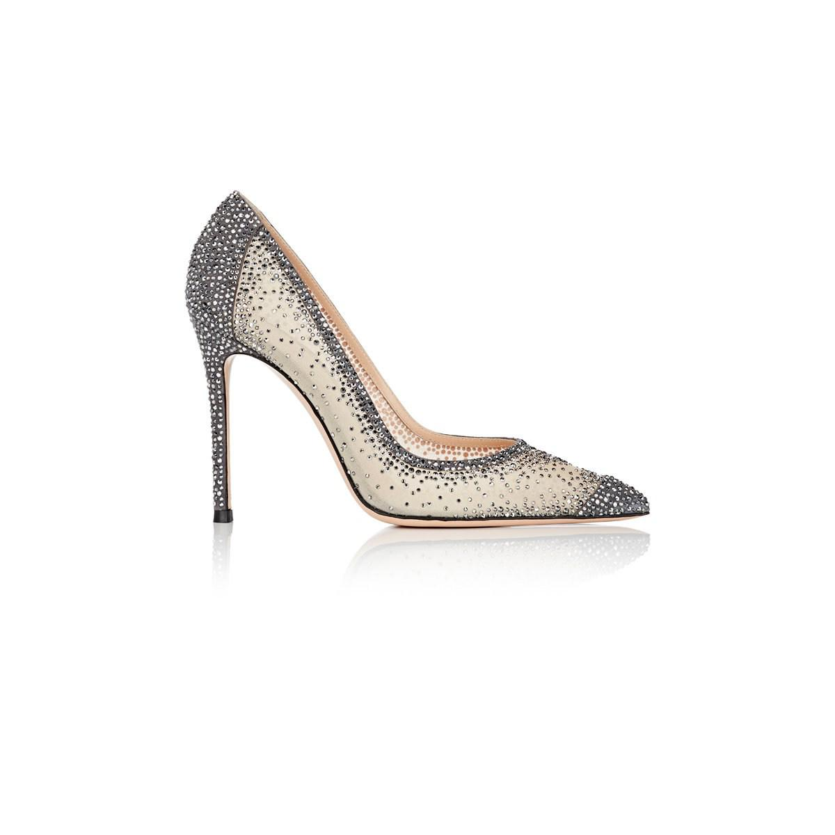 6a2c57c2918e Lyst - Gianvito Rossi Rania Crystal-embellished Pumps in Gray