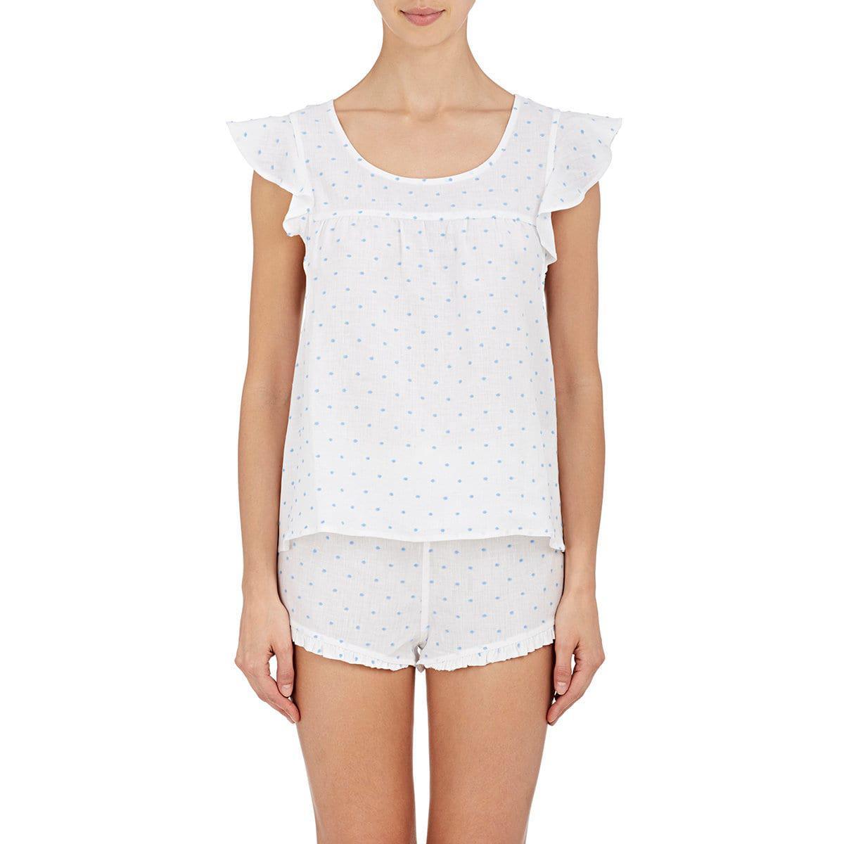 8138baff69 Lyst - The Sleep Shirt Linen Fil Coupé Pajama Set in White