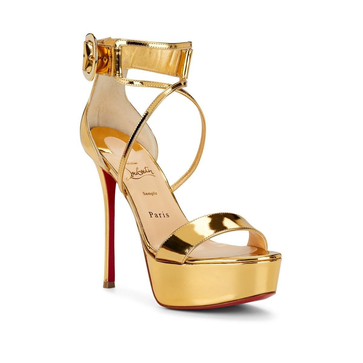 71b3a14f78245 Christian Louboutin - Metallic Choca Specchio Leather Platform Sandals -  Lyst. View fullscreen