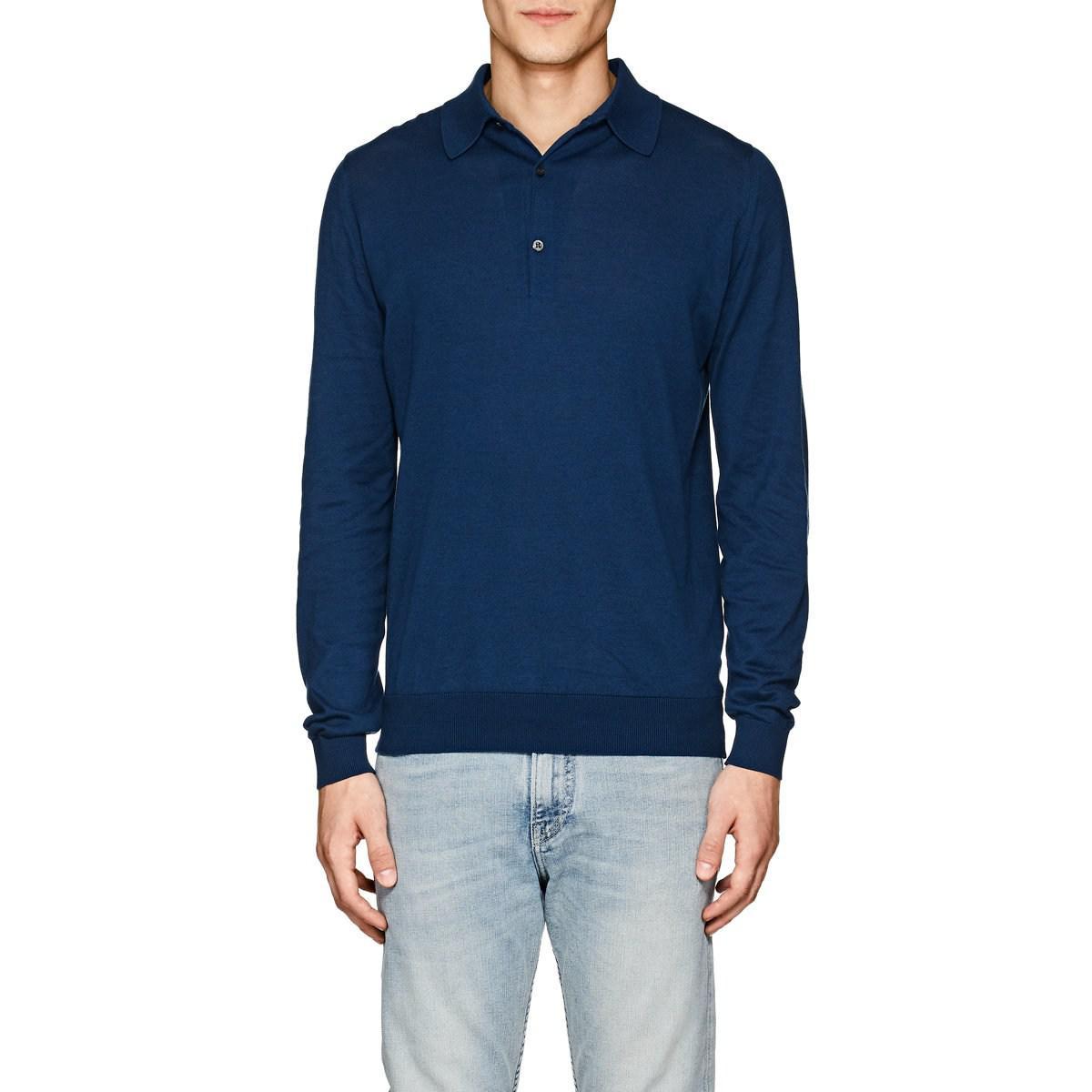 687c0dcf John Smedley Bradwell Cotton Polo Shirt in Blue for Men - Lyst