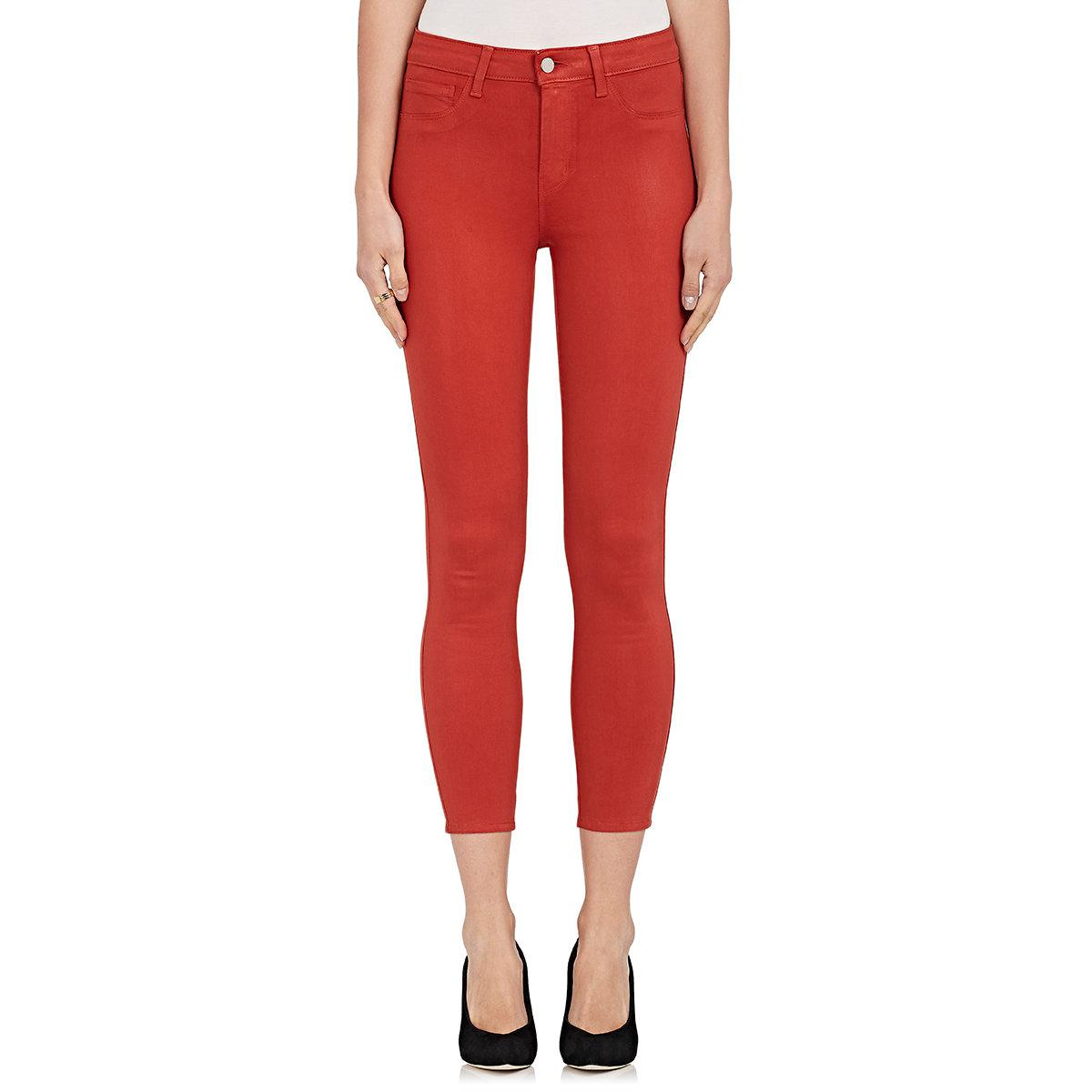 193dec6cba Lyst - L Agence Margot Coated Skinny Jeans in Red