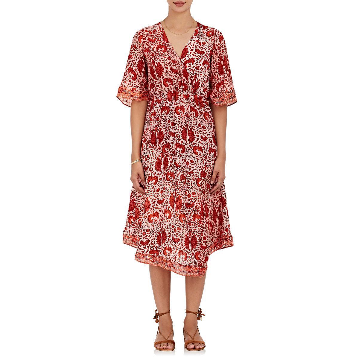 5349c199346 Lyst - Natalie Martin Coco Floral Silk Midi in Orange