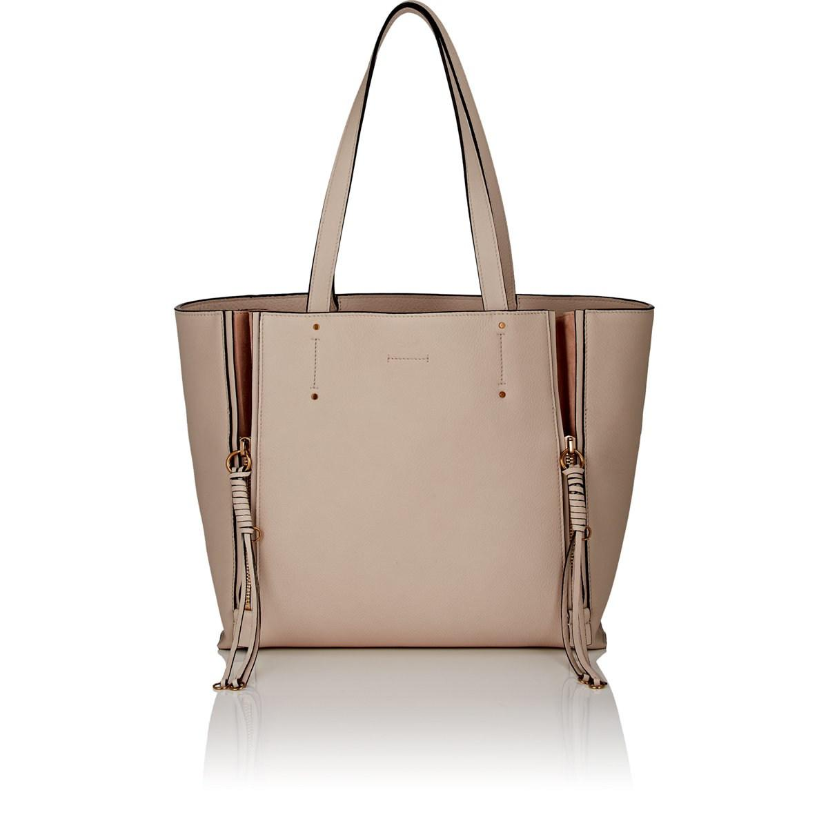 bb585f993 Chloé Milo Medium Leather Tote Bag in White - Lyst